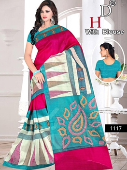 Picture of 1117 Magenta and Cream Designer Bhagalpuri Silk Saree
