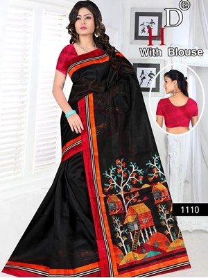 Picture of 1110 Black and Multicolor Designer Bhagalpuri Silk Saree