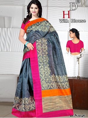 Picture of 1096 Grey Designer Bhagalpuri Silk Saree