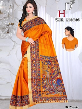 Picture of 1081 Saffron Designer Bhagalpuri Silk Saree