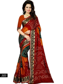 Picture of 103 Maroon and Orange Designer Bhagalpuri Silk Saree