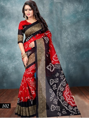 Picture of 102 Red and Black Designer Bhagalpuri Silk Saree