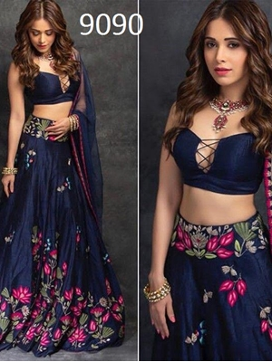 Picture of Navy Blue Designer Lehenga Choli