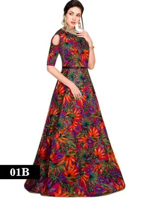 Picture of 01B Red and Multicolor Designer Stitched Gown