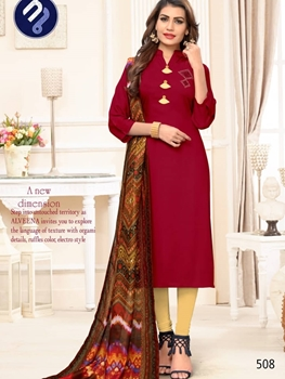 Picture of 508 Maroon Designer Rayon Stitched Kurti with Dupatta