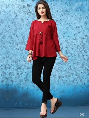 Picture of 005 Dark Red Western Wear Cotton Kurti