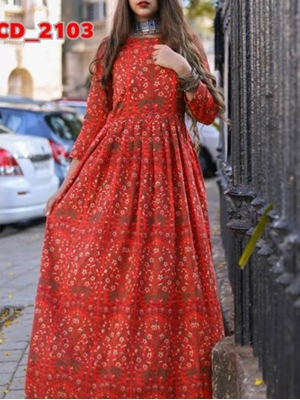 Picture of 2103 Red Designer Stitched Kurti
