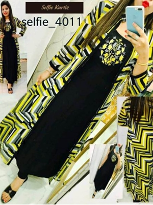 Picture of 4011 Black and Yellow Designer Rayon Stitched Kurti