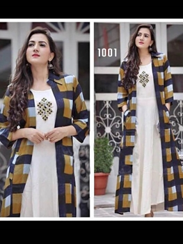 Picture of 1001 Cream and Multicolor Designer Rayon Stitched Kurti