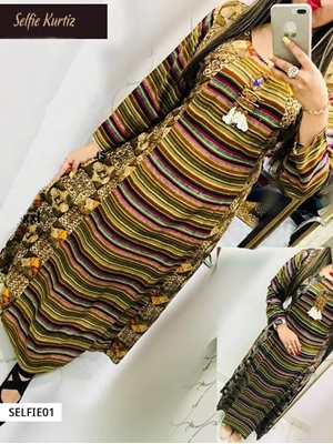 Picture of 01 Olive and Multicolor Designer Semi Rayon Stitched Kurti