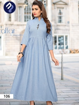 Picture of 106 Sky Blue Designer Khadi Stitched Kurti