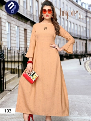 Picture of 103 Peach Designer Khadi Stitched Kurti