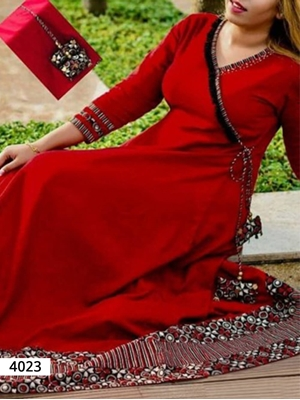 Picture of 4023 Red Designer Stitched Kurti