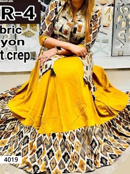 Picture of 4019 Golden Yellow Designer Stitched Kurti
