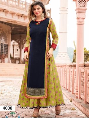 Picture of 4008 Dark Blue and Olive Designer Stitched Kurti