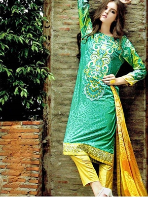 Picture of 1407 Green Satin Cotton Straight Suit
