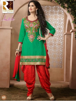 Picture of 05 Green Designer Cotton Straight Suit