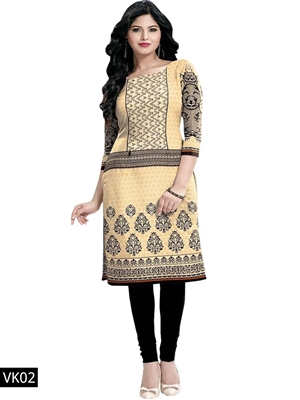 Picture of 02 Ivory Printed Cotton Stitched Kurti