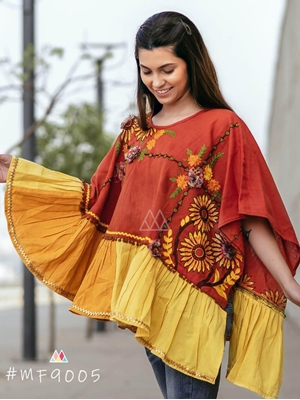 Picture of 9005 Brown Winter Wear Embroidered Ponchos
