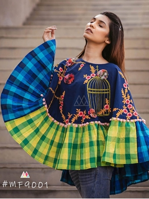 Picture of 9001 Dark Blue Winter Wear Embroidered Ponchos
