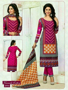 Picture of 3004 Megenta and Orange Printed Straight Suit