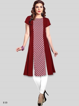 Picture of 113 Maroon Designer Party Wear Stitched Kurti