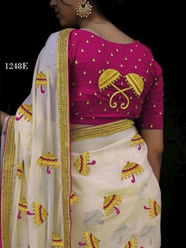 Picture of 1248E Cream and Dark Purple Designer Chanderi Silk Saree