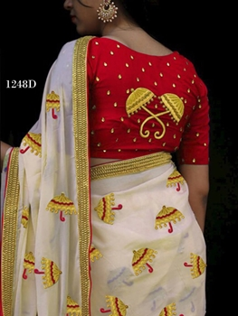 Picture of 1248D Cream and Dark Red Designer Chanderi Silk Saree