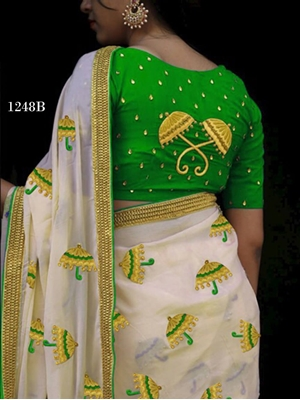 Picture of 1248B Cream and Green Designer Chanderi Silk Saree