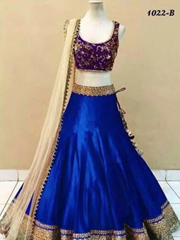 Picture of 1022B Royal Blue Trendy Satin Banglory Silk Lehenga Choli