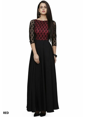 Picture of Red and Black Exclusive Designer Western Gown