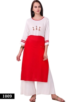 Picture of 1009 White and Red Exclusive Designer Rayon Long Kurti
