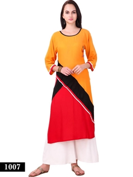 Picture of 1007 Turmeric and Red Exclusive Designer Rayon Long Kurti