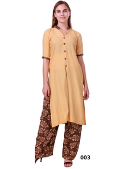 Picture of 003 Yellow Rayon Top With Printed Plazo