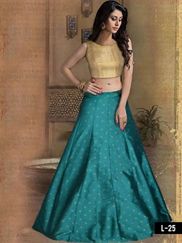 Picture of L25 Golden and Sea Green Designer lehenga Choli