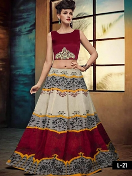 Picture of L21 Maroon and Off White Designer Lehenga Choli