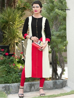 Picture of 1109C Black and Red Designer Stitched Long Kurti