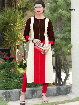 Picture of 1109B Maroon and Red Designer Stitched Long Kurti