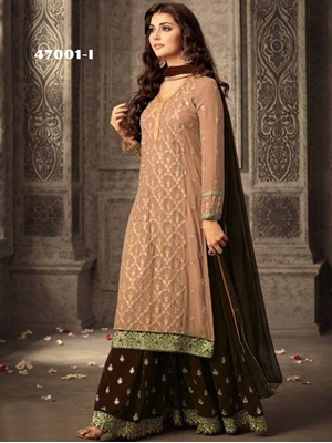 Picture of 47001I Khaki and Coffee Georgette Plazo Replica Suit