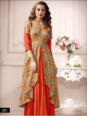 Picture of 281 Orange and Beige Designer Stitched Gown