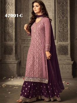 Picture of 47001C Lavender and Purple Georgette Plazo Replica Suit