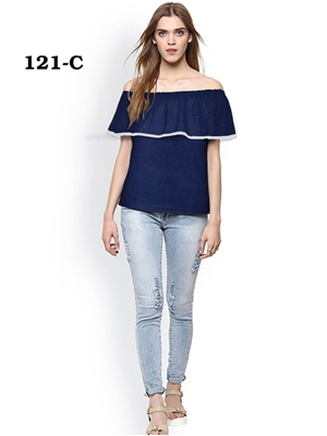 Picture of 121C Blue Trendy Western Wear T Shirt