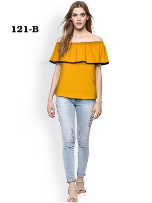 Picture of 121B Yellow Trendy Western Wear T Shirt