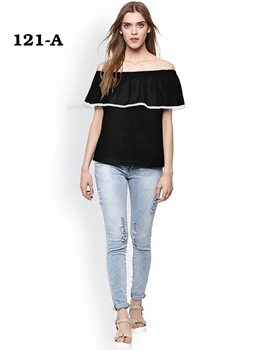 Picture of 121A Black Trendy Western Wear T Shirt