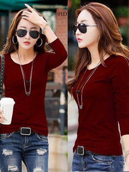 Picture of 01D Maroon Trendy Western Wear T Shirt