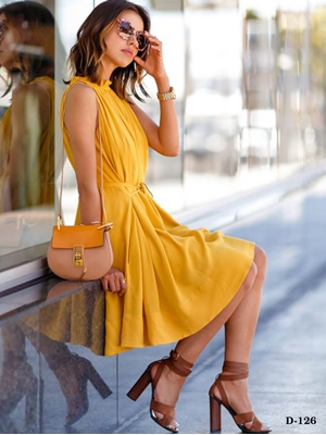 Picture of D126 Yellow Designer Western Wear Dress