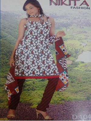 Picture of 104A White and Red Printed Salwar Suit