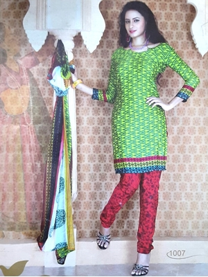 Picture of 1007 Lemon Green and Green Printed Salwar Suit