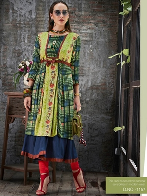 Picture of 1157 Pista Green and Blue Designer Gown Style Stitched Kurti