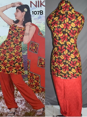 Picture of 107B Black and Red Printed Salwar Suit